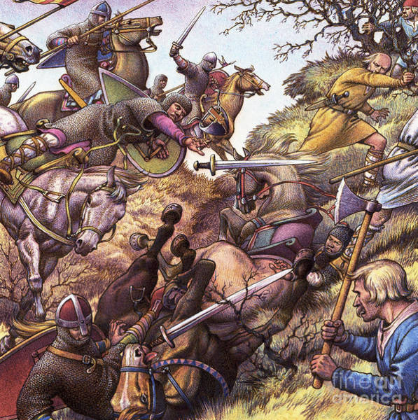 Normandy Painting - Medieval Battle Scene by Pat Nicolle
