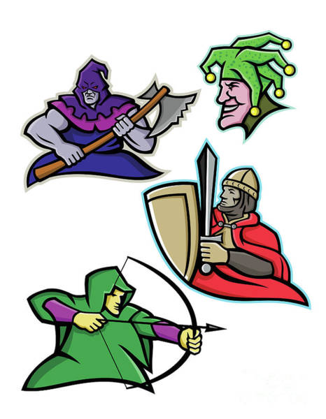 Wall Art - Digital Art - Medieval Court Character Mascot Collection by Aloysius Patrimonio