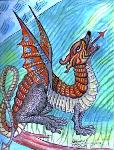 Wall Art - Painting - Medieval Dragon by Genevieve Esson