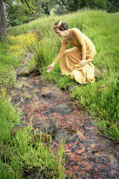 Medieval Lady By A Stream Art Print