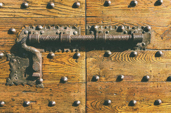 Photograph - Medieval Lock With Patterns On Oak Door  by Alexandre Rotenberg