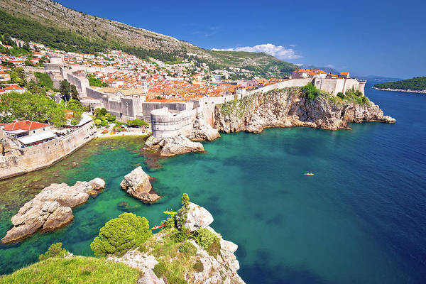 Lokrum Photograph - Medieval Town Of Dubrovnik With Famous Walls Colorful View by Brch Photography