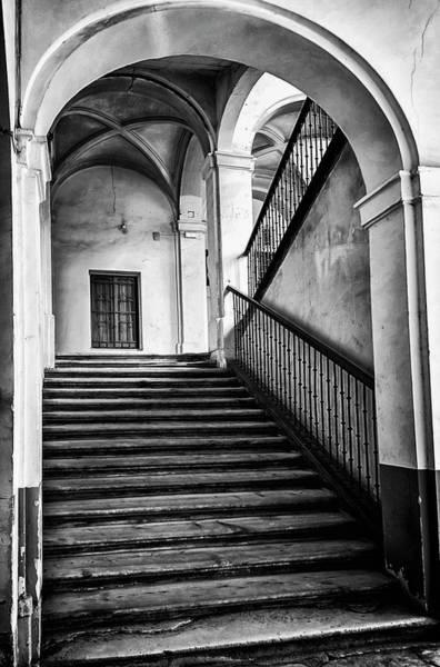 Wall Art - Photograph - Medinaceli Palace Stairway Aranjuez Spain Bw by Joan Carroll