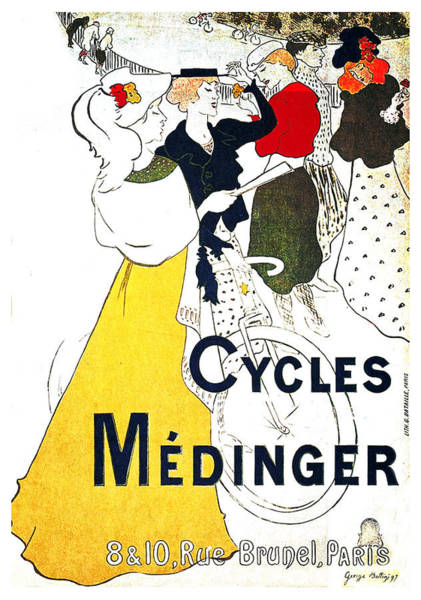 Wall Art - Mixed Media - Medinger Cycles - Bicycle - Vintage Advertising Poster  by Studio Grafiikka