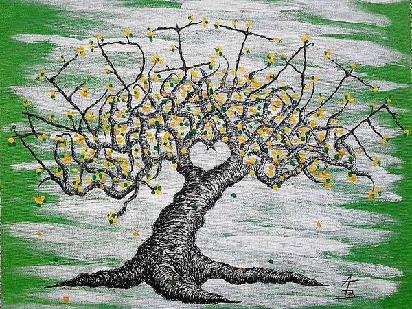Drawing - Meditate Love Tree by Aaron Bombalicki