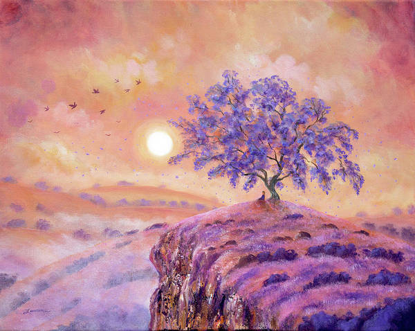 Lavender Mist Wall Art - Painting - Meditating Under A Jacaranda Tree by Laura Iverson