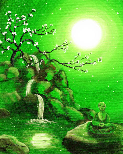Wall Art - Painting - Meditating While Cherry Blossoms Fall In Green by Laura Iverson