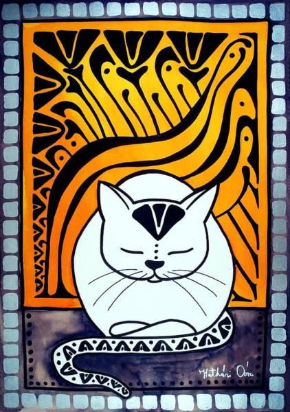 Painting - Meditation - Cat Art By Dora Hathazi Mendes by Dora Hathazi Mendes