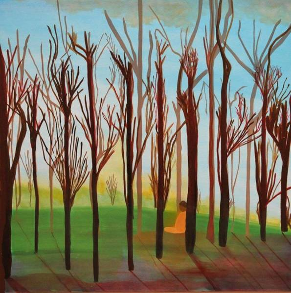 Wall Art - Painting - Meditation In The Forest by Aviva Moshkovich
