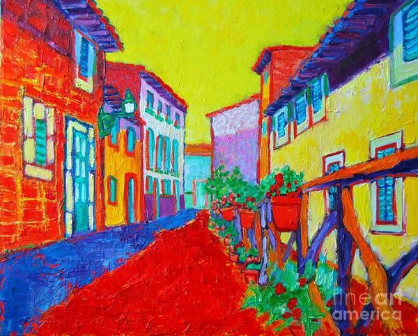 Narrow Street Painting - Mediterranean Cityscape by Ana Maria Edulescu