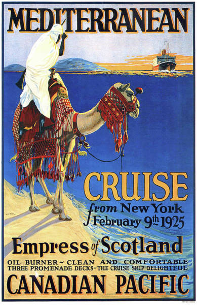 Wall Art - Painting - Mediterranean Cruise, Canadian Pacific, Bedouin On Camel by Long Shot