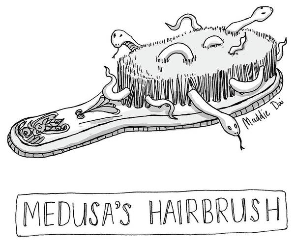 Reptile Drawing - Medusas Hairbrush by Maddie Dai