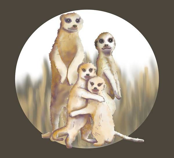 Digital Art - Meerkats  by April Burton