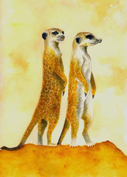 Wall Art - Painting - Meerkats by Michael Vigliotti