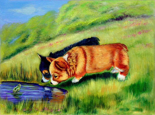 Wall Art - Painting - Meeting Mr. Frog Corgi Pups by Lyn Cook