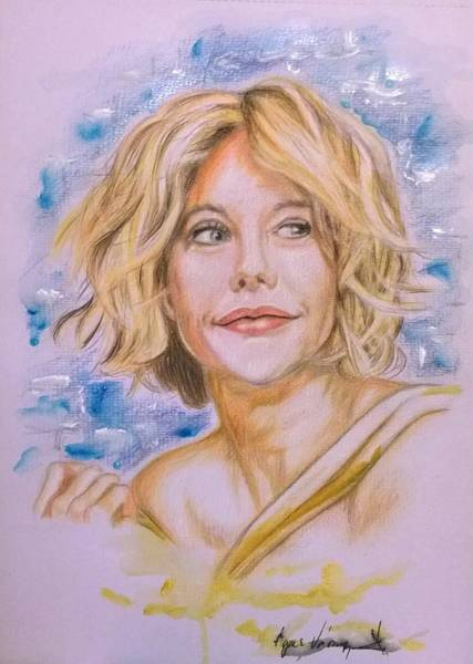 Wall Art - Drawing - Meg Ryan by Agnes V