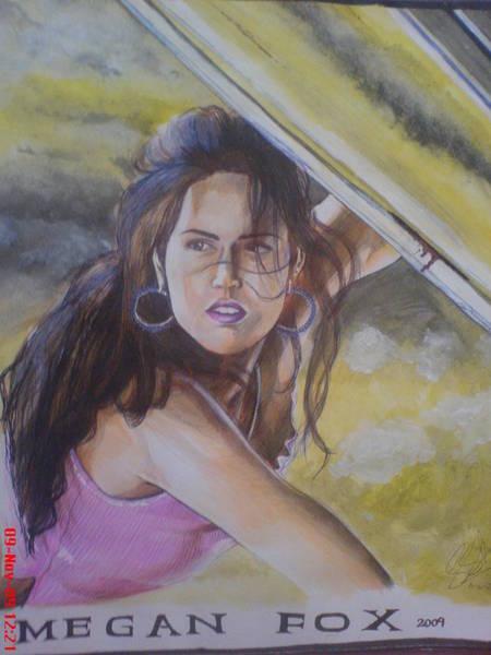 Orlando Bloom Painting - Megan Fox by San Art Studio
