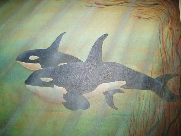 Blackfish Painting - Mei And Ue by Terri Rodstrom