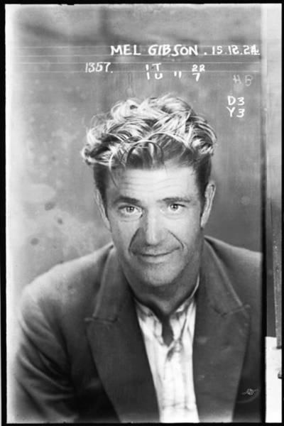 Photograph - Mel Gibson Mug Shot Vertical Black And White by Tony Rubino
