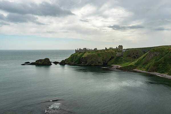 Promontory Point Photograph - Melancholy Dunnottar Ruins And Castle Haven Bay  by Georgia Mizuleva