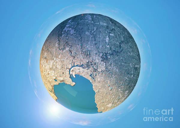Little Planet Digital Art - Melbourne 3d Little Planet 360-degree Sphere Panorama by Frank Ramspott