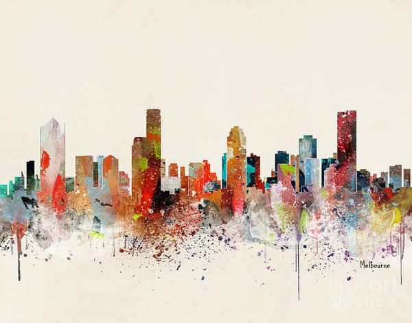 Wall Art - Painting - Melbourne Skyline by Bri Buckley