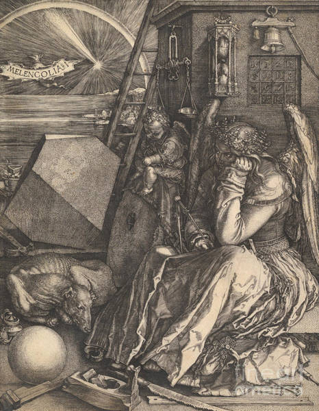 Etching Drawing - Melencolia I, 1514  by Albrecht Durer