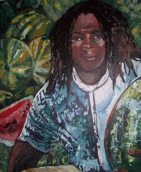 Caribbean Wall Art - Painting - Melon Man by Jan Farara