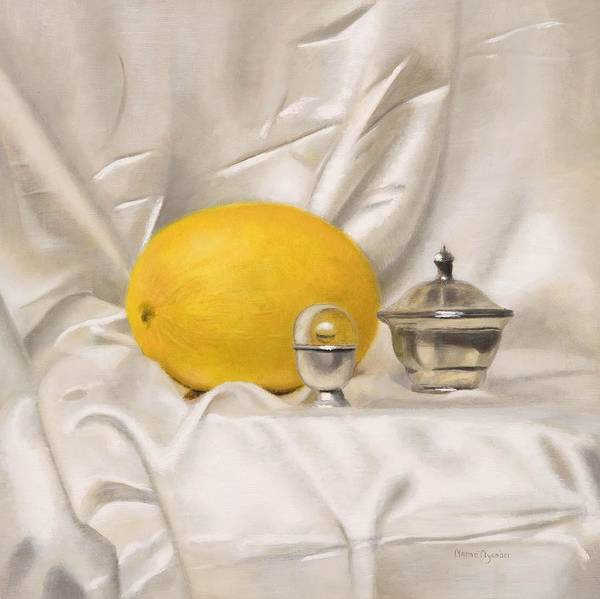 Painting - Melon On White Silk by Nanne Nyander
