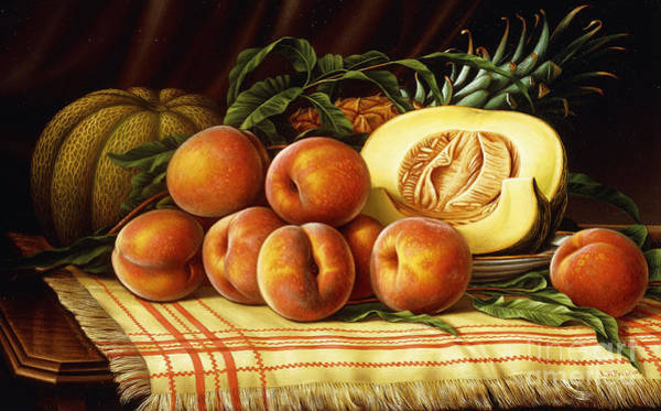 Melon Painting - Melons, Peaches And Pineapple by Levi Wells Prentice