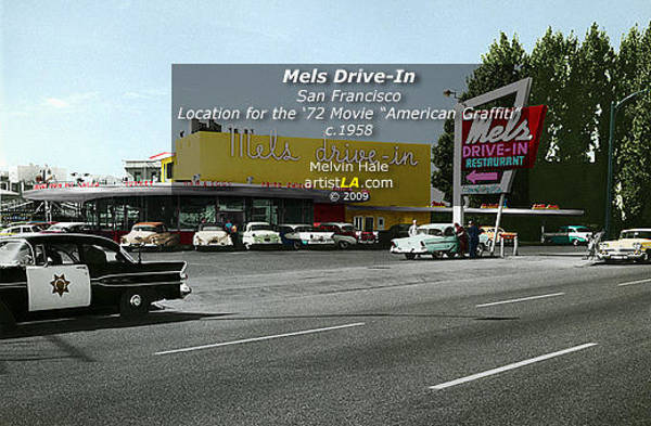 Wall Art - Painting - Mels Drive In San Francisco C1958 by Melvin Hale ArtistLA