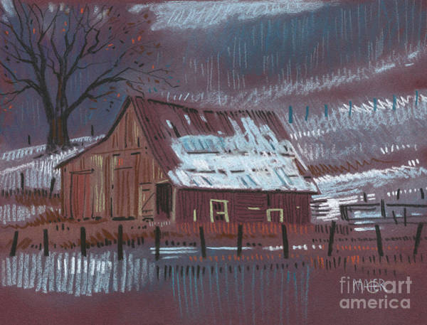 Barn Drawing - Melting Snow by Donald Maier