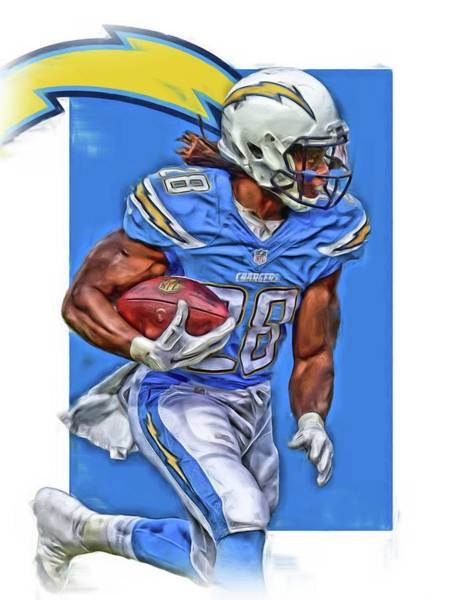 Super Bowl Mixed Media - Melvin Gordon San Diego Chargers Oil Art by Joe Hamilton