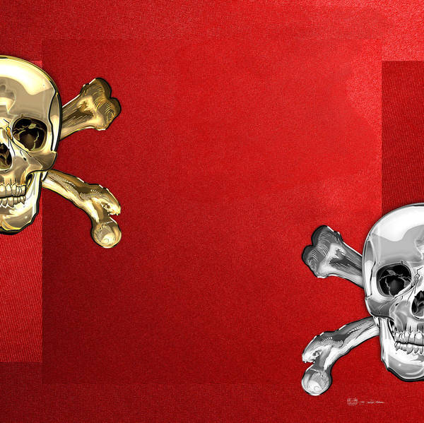 Silver And Gold Digital Art - Memento Mori - Gold And Silver Human Skulls And Bones On Red Canvas by Serge Averbukh
