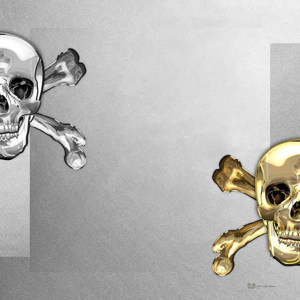 Digital Art - Memento Mori - Gold And Silver Human Skulls And Bones On White Canvas by Serge Averbukh