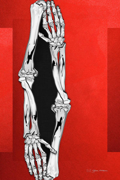 Digital Art - Memento Mori - Two Sets Of Silver Human Arm Bones Over Red And Black Canvas by Serge Averbukh