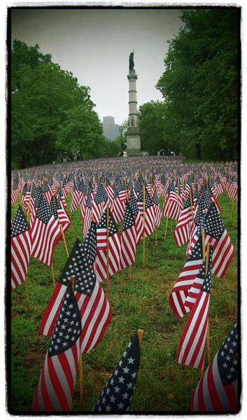 Photograph - Memorial Day Flags On The Boston Common With Soldiers And Sailors Monument by Joann Vitali