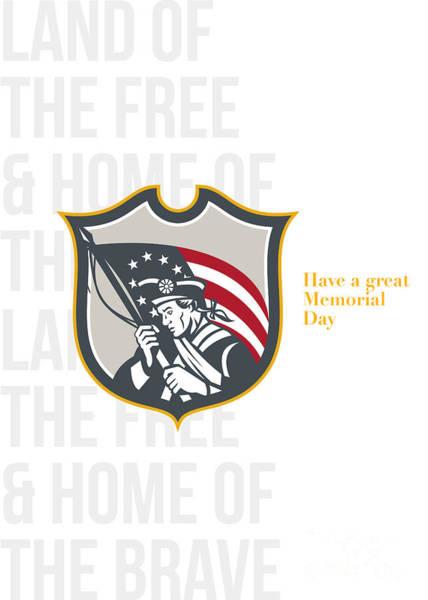 Ross Digital Art - Memorial Day Greeting Card Patriot Holding American Flag  by Aloysius Patrimonio