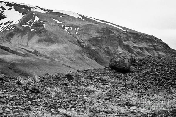 Wall Art - Photograph - memorial to dead german walkers, bushes and mosses growing on Skaftafell glacier end moraine Vatnajo by Joe Fox