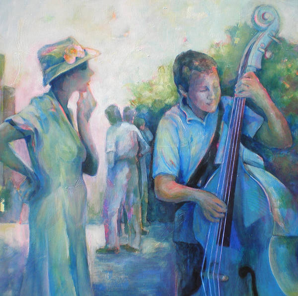 Wall Art - Painting - Memories -  Woman Is Intrigued By Musician.  by Susanne Clark