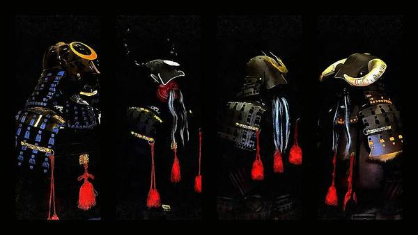 Photograph - Memories Of Samurai Black Armour Collage by Dorothy Berry-Lound
