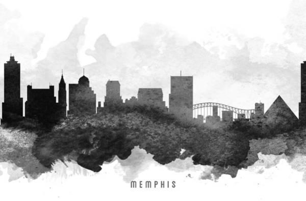 Memphis Painting - Memphis Cityscape 11 by Aged Pixel