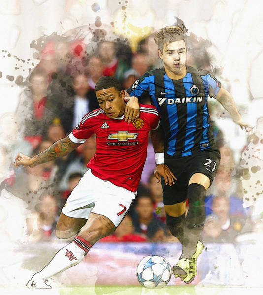 Manchester United Fc Wall Art - Digital Art - Memphis Depay Of Manchester United In Action by Don Kuing