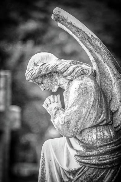 Wall Art - Photograph - Memphis Elmwood Cemetery - Praying Angel - Monochrome by Jon Woodhams