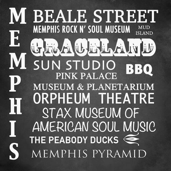 Bbq Digital Art - Memphis Famous Landmarks by Patricia Lintner