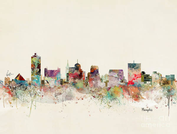 Tennessee Wall Art - Painting - Memphis Skyline by Bri Buckley
