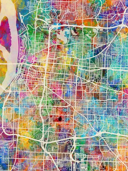 Wall Art - Digital Art - Memphis Tennessee City Map by Michael Tompsett
