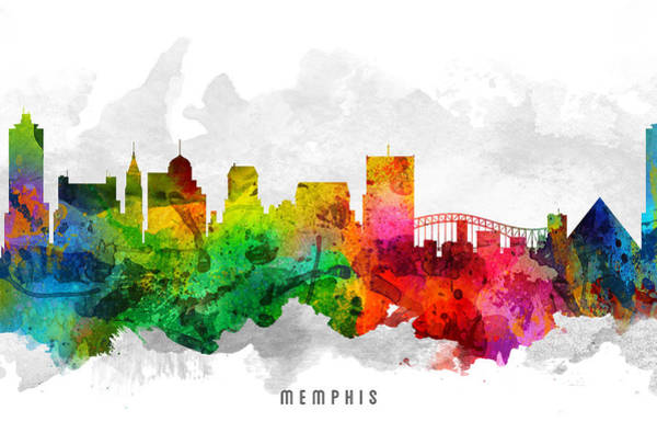 Memphis Painting - Memphis Tennessee Cityscape 12 by Aged Pixel