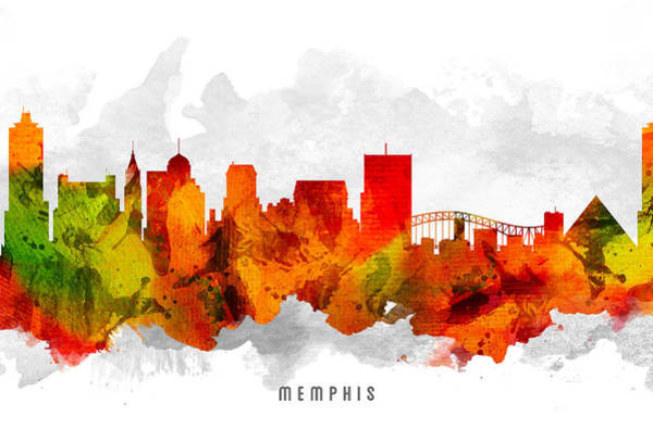 Memphis Painting - Memphis Tennessee Cityscape 15 by Aged Pixel