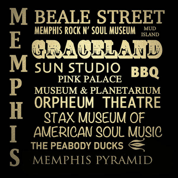 Wall Art - Digital Art - Memphis Tennessee Famous Landmarks by Patricia Lintner